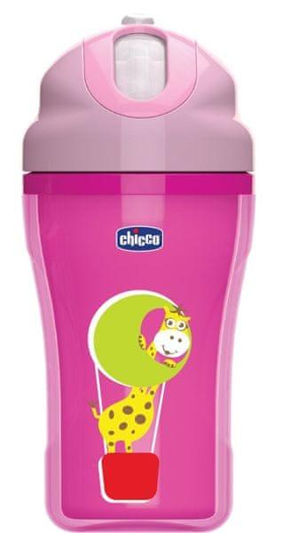 Chicco Hrnek s brčkem 266ml, 18m+, růžový