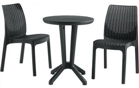 Allibert 3-delni komplet stolov z mizo Bistro, antracit