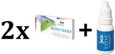 Eyeye zestaw 2x soczewki kontaktowe Bioxy Daily -1,00 - 30 szt. + gratis krople Hydraclair - 15 ml