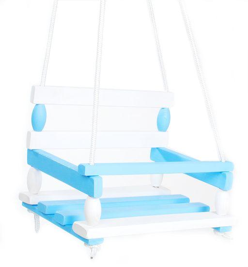 Teddies lesena gugalnica, modro-bela. 38x30 cm