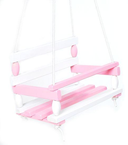 Teddies lesena gugalnica, roza-bela. 38x30 cm