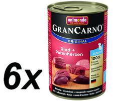 Animonda GranCarno Junior hovädzie + morčacie srdce 6x400g