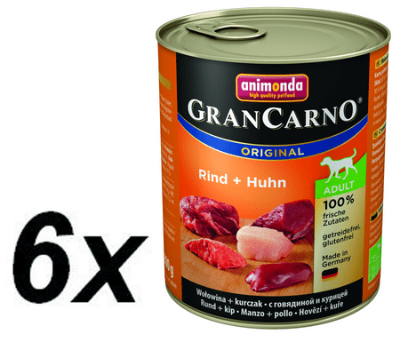 Animonda mokra hrana za odrasle pse GranCarno, govedina + piščanec, 6 x 400 g