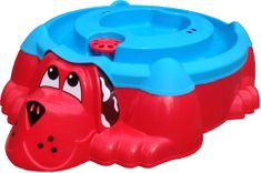 Marian Plast Homokozó-medence Kutya fedéllel, piros/kék