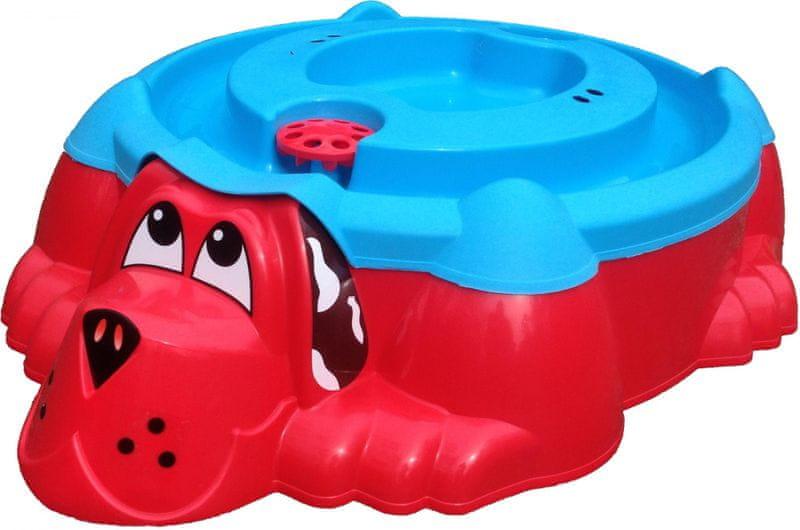 Marian Plast Pískoviště-bazének Pes s krytem, červená/modrá