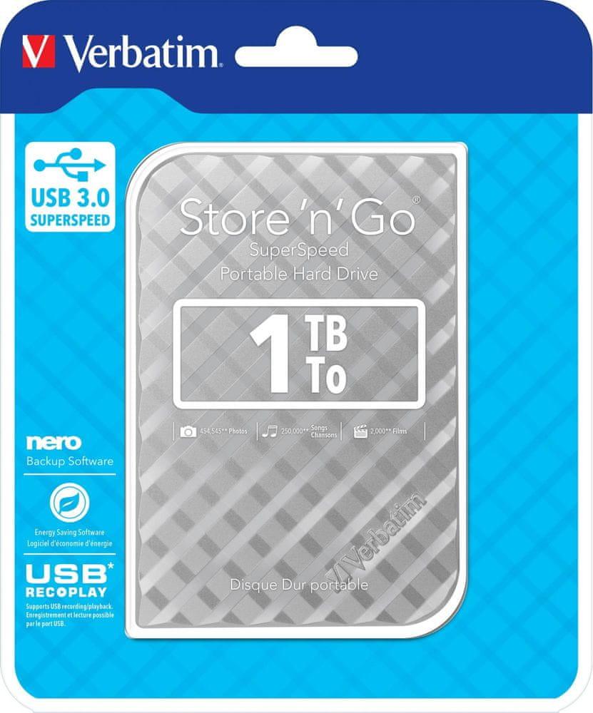 "Verbatim Store 'n' Go GEN2 1TB / Externí / USB 3.0 / 2,5"" / Silver (53197)"