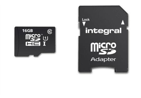 Integral spominska kartica microSDHC 16 GB Class 10 UHS-I U1 90MB/s + adapter (INMSDH16G10-90SPTAB)