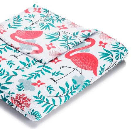 Biederlack Koc Summer-fleece Pretty Flamingo 150 x 200 cm