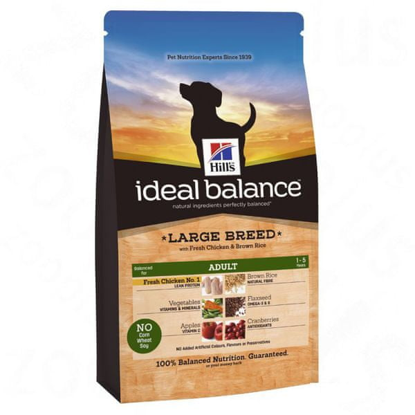 Hill's Ideal Balance Canine Adult Large Breed s čerstvým kuřetem a hnědou rýží 12 kg