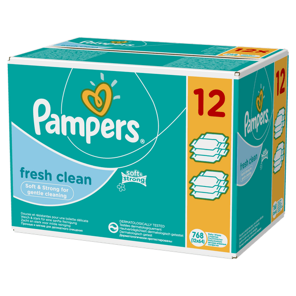 Pampers Pampers Vlhčené ubrousky Pampers Fresh Clean 12x64ks
