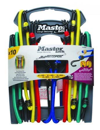 Master Lock rozciągliwe sznury Twin 8mm - zestaw 10 sztuk