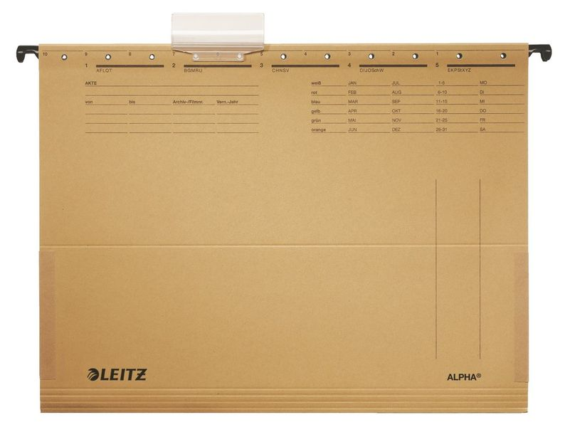 Závěsné desky Leitz ALPHA s bočnicemi hnědé