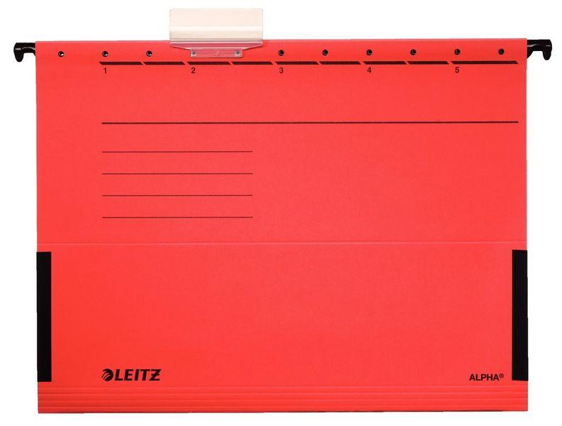 Závěsné desky Leitz ALPHA s bočnicemi červené