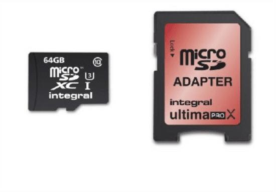 Integral spominska kartica UltimaPro MicroSDXC 64 GB, Class 10 U3 + adapter