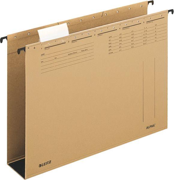 Závěsné desky Leitz ALPHA hnědé se širokým dnem 6 cm
