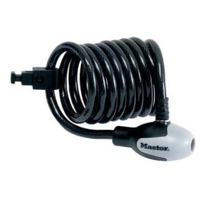 Master Lock spiralna ključavnica z nosilcem 8225 1,8mx8mm, črn