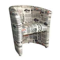 Kreslo CUBA D-8, látka /vzor noviny
