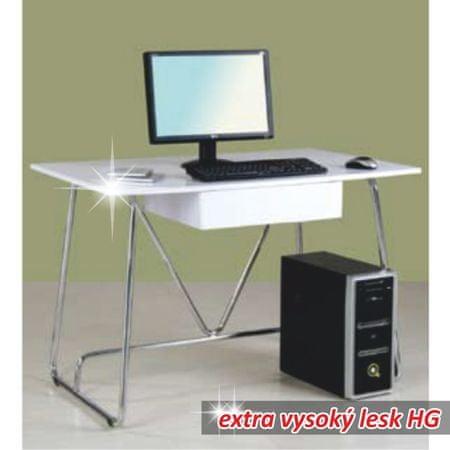 PC stôl, biela/vysoký lesk, EDGAR