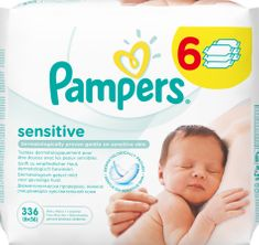 Pampers Sensitive törlőkendő, 6 x 56 db