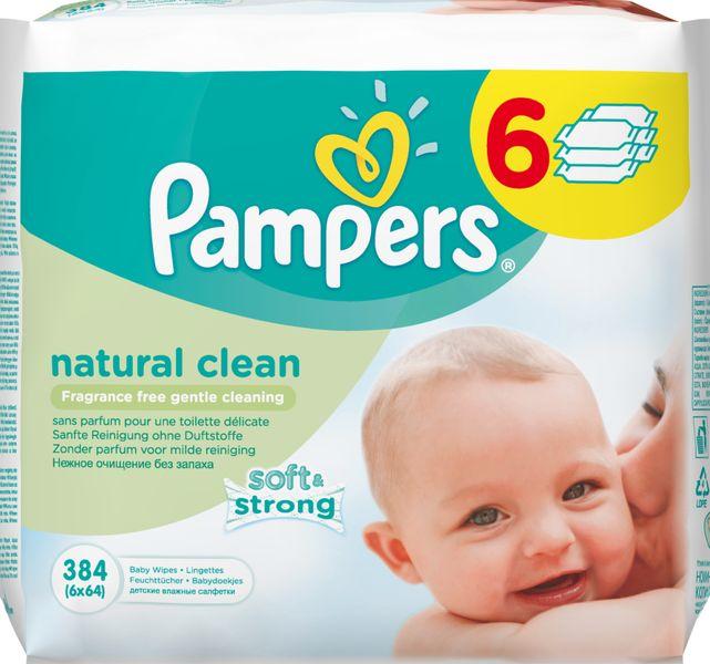 Pampers Vlhčené ubrousky Natural Clean 6×64 ks