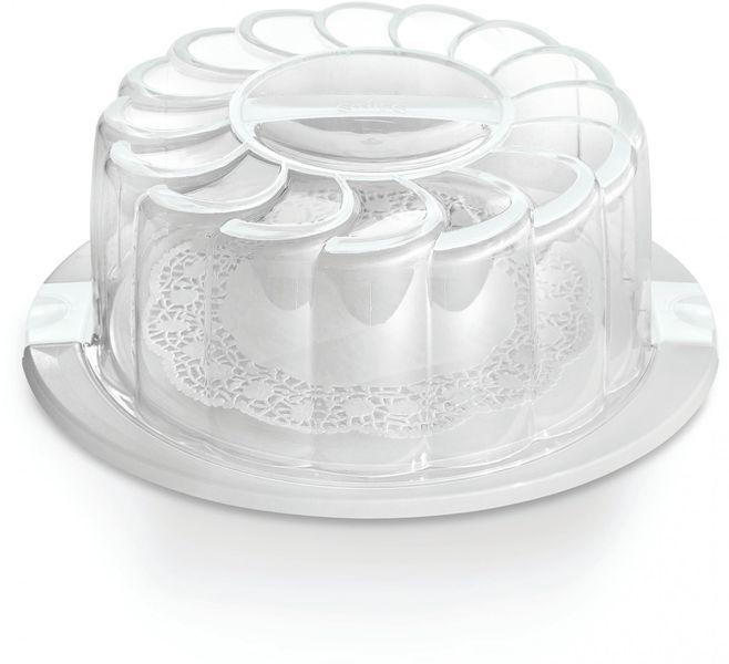 Snips Podnos na dort 28 cm s poklopem a držákem bílá
