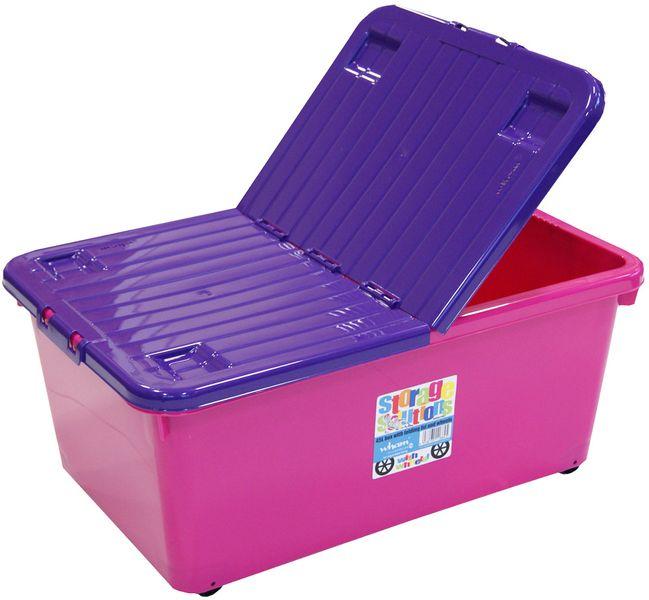 WHAM Box 45 l s víkem a kolečky růžový