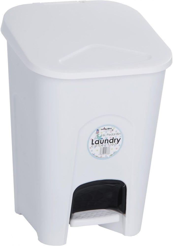 WHAM Pedálový odpadkový koš 16 l bílý