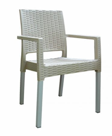 MEGA PLAST krzesło MP692 RATAN LUX, kremowe