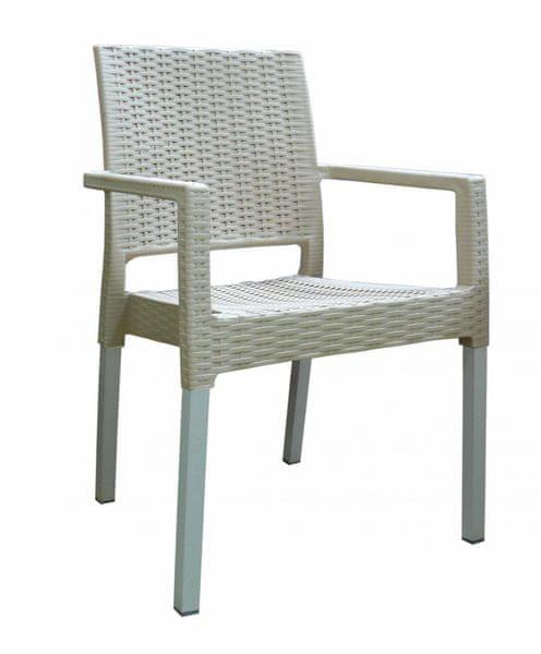 MEGA PLAST MP692 RATAN LUX (AL nohy) židle champagne