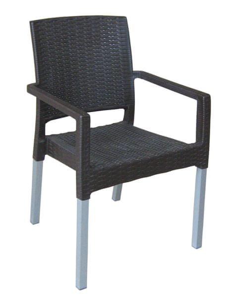 MEGA PLAST MP692 RATAN LUX (AL nohy) židle wenge