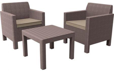 Allibert 3-delni komplet stolov z mizo Orlando Balcony, kapučino