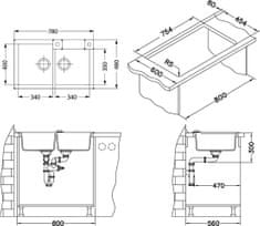 Alveus dvostruki sudoper Granital Rock 90 carbon-G91 (1090965)