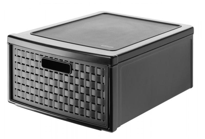 Rotho Úložný box šuplík Country 30 l, černý