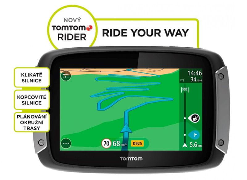 TomTom Rider 40, Central Europe LIFETIME, 19 zemí