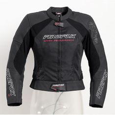 FireFox motoristična športna usnjena jakna 1.0, ženska, črno-bela