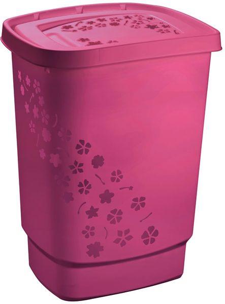 Rotho Koš na špinavé prádlo Flowers 55 l růžová