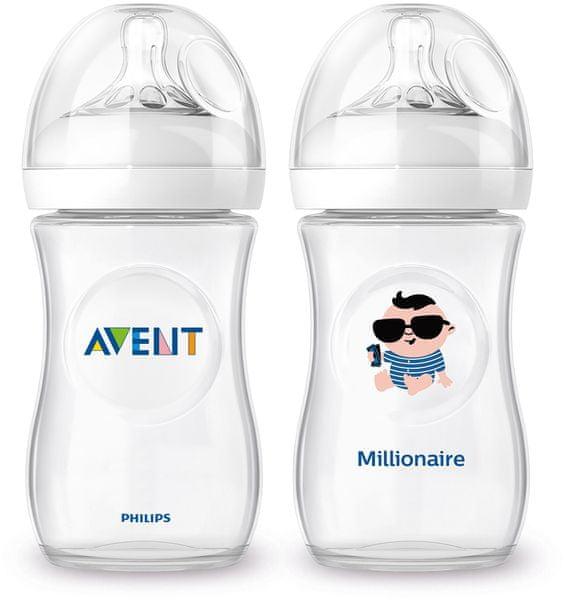 Avent Láhev Natural 260 ml (PP) + Láhev milionář
