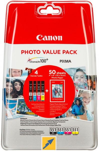 Canon CLI-551CMYBK, Multipack + 50x PP-201 photopaper (6508B005), barevná
