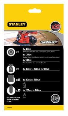 Stanley zestaw papierów ściernych do multiszlifierek B+D