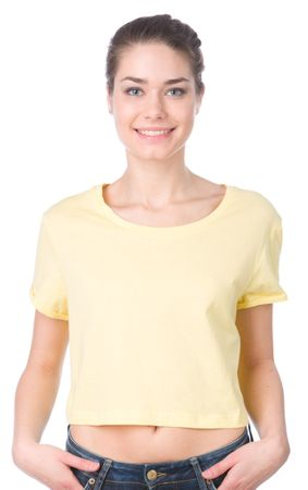 Brave Soul ženska majica Boycrop S rumena