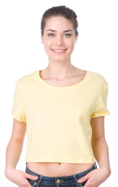 Brave Soul dámské tričko Boycrop L žlutá