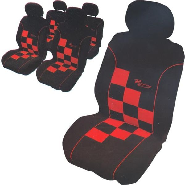CarPoint Potahy sedadel - Racing šachovnice červená