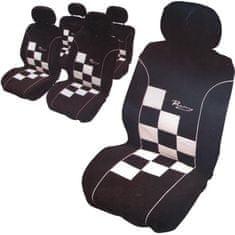 CarPoint Potahy sedadel - Racing šachovnice bílá