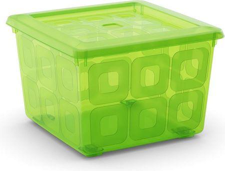 Kis Kis škatla za shranjevanje s kolesi Square box, 28 l, zelena