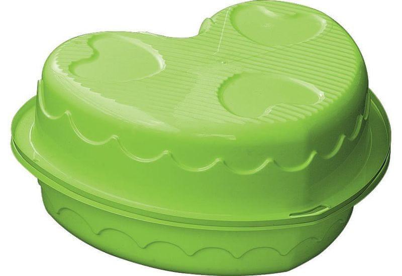 Marian Plast Pískoviště/bazének dvojité srdce s krytem zelená