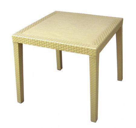 MEGA PLAST MP696 RATAN LUX stůl, polyratan, 71x75,5 krémová