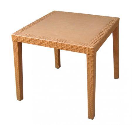 MEGA PLAST RATAN LUX Rattan asztal, 71 x 75,5 cm, Okker