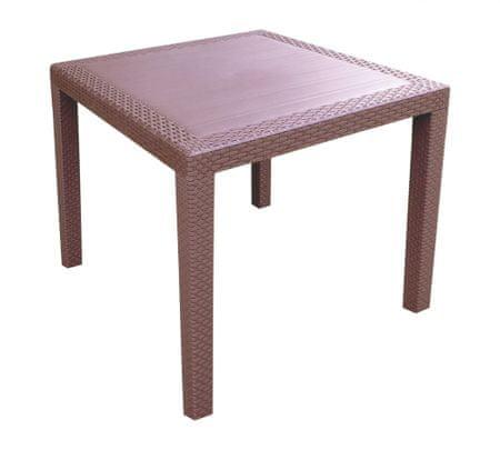 MEGA PLAST RATAN LUX rattan asztal 71x75,5, Barna