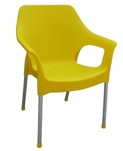 MEGA PLAST MP1282 URBAN (AL nohy) židle, 83,5x60x54 žlutá