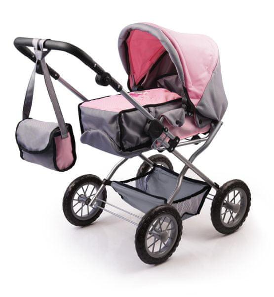 Bayer Design Kočárek pro panenky Combi Grande Set růžová/šedá
